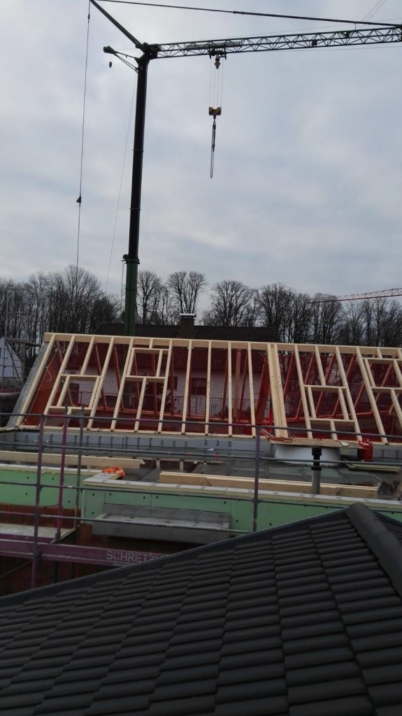 27. März 2019 - der Dachstuhl wird aufgebaut
